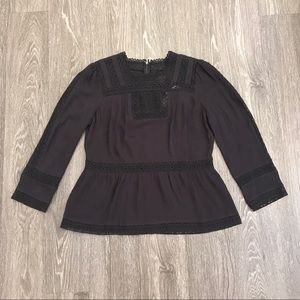 NWT J. Crew black boho 3/4 sleeve blouse/top